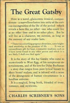 The Great Gatsby | Book jacket note from the original 1925 edition published by Charles Scribner's Sons.