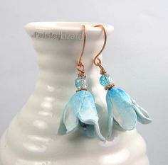 Rustic Blue Bonnet Flower Blossom beaded earrings by PaisleyLizardDesigns