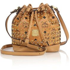 MCM Diamond Visetos Mini Coated Canvas Bucket Bag ($1,360) ❤ liked on Polyvore featuring bags, handbags, shoulder bags, apparel & accessories, cognac, bucket handbags, antique purse, bucket shoulder bag, studded handbags e bucket bags handbags