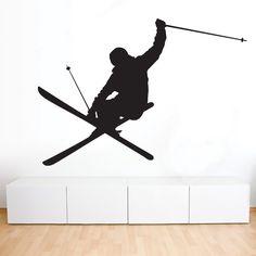 Freestyle Ski Decal Skier Sport Wall Decal by decalsbystickurz Décor Ski, Ski Freestyle, Skiing Tattoo, Snowboard, Teen Boy Rooms, Sports Wall Decals, Ski Decor, Gaspard, Ski Girl