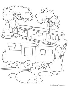 Train coloring page 2 | Download Free Train coloring page 2 for