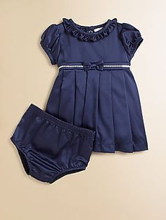 Miniclasix Infant's Satin Sequin Dress & Bloomers Set