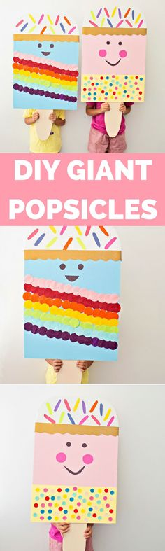 DIY Giant Ice Cream Popsicle Craft. Cute summer kids craft for a party or to celebrate summer!