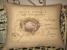 Bird Nest Pillow French Carte Postale Bird by sherrisboutique, $23.00