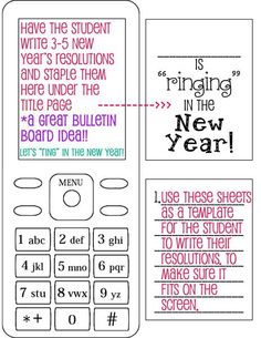 Ringing in the New Year - New Year's resolutions activity/bulletin board