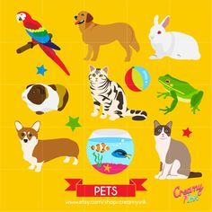Pets Digital Vector Clip art / Animals Clipart Design Illustration /Animal Image, Graphics/ Dog, Cat, Rabbit, Parrot, Fish / Download by CreamyInk on Etsy https://www.etsy.com/uk/listing/246763469/pets-digital-vector-clip-art-animals