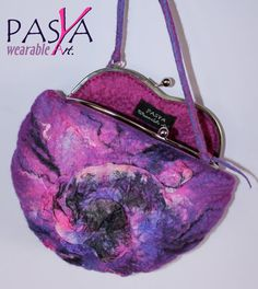 SALE !!! Handmade Seamless Felted Silk Purple Designer Clutch Bag Wearable Art