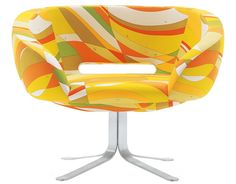 The Rive Droite Armchair was designed by Patrick Norguet for the Italian label Cappellini. With its vivid colours and imaginative printed design, it has a retro Eileen Gray, Le Corbusier, Eames, Patrick Norguet, Walt Disney Signature, Milan Furniture, Structure Metal, Swivel Armchair, Orange Fabric