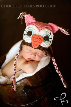 Made to order - Huggable Hoot Crocheted Owl Hat Sizes 3-6M and 6-12M - Also available in Baby to Adult Sizes