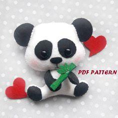 Felt panda pattern PDF tutorial panda plush sewing tutorial