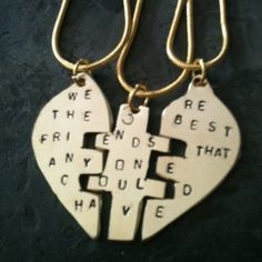 BFF necklaces for @Chloe Howell  & @Megan Morin . Love you guys like the sisters I never had!