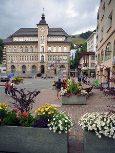 Schulhausplatz | School Plaza, St Moritz, Engadin, canton of Graubunden, Switzerland