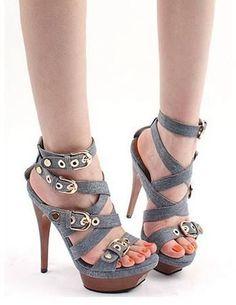 STYLE & FIT Sexy Denim Platform Sandals . sexy#shoes #heels ...
