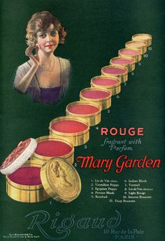 Mary Garden rouge (1920) in progressively darker shades of pink