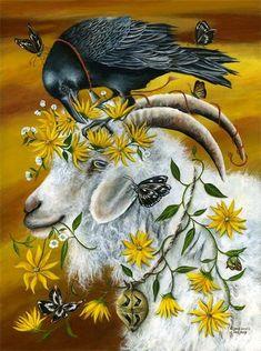 """Crows Ravens: ~ """"Chains Gold Days,"""" by Janie Olsen. The Crow, Crow Art, Raven Art, Art Fantaisiste, Ouvrages D'art, Crows Ravens, Art Et Illustration, Illustrations, Animal Totems"""