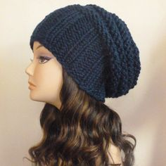 42e32a1ce0e Navy Slouch Grunge Beanie READY TO SHIP Hipster Hat by BoPeepsBonnets Slouch  Beanie