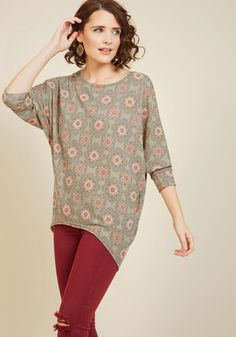 Sports Rapport Top in Medallions - Green, Green, Floral, Boho, 3/4 Sleeve, Winter, Best, Variation, Scoop, Knit, Long