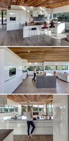 This New Family Home In Austin, Texas Lives Among The Trees This mostly-all white kitchen is broken up by a dark countertop on the island and backsplash. The kitchen island is large enough to seat multiple people, ideal for entertaining. Farmhouse Kitchen Island, Modern Kitchen Island, Kitchen Islands, Diy Kitchen, Kitchen Ideas, Kitchen White, Kitchen Decor, Rustic Kitchen, Luxury Kitchen Design
