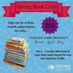 Join the Spring Book Club! Get 2-3 new Usborne Books per month for 3 months (March, April, & May) delivered straight to your door. Age & interest appropriate titles selected just for your children/family, for ages infant through teen... & all of this will cost you just $50! (& shipping is free!). Unique, educational, engaging, & fun! They're the books your kids love to read ❤ Email me @ GinasUsborneZone@gmail.com w/ name, child's name, shipping address, & email address to place your order