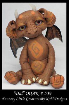 Fantasy Little Dragon DollHouse Art Doll Polymer Clay CDHM OOAK IADR Dul Mini