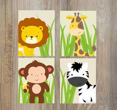 Jungle Nursery Art - Jungle Nursery Decor - Self Print 4 piece Set - Instand Download Jpeg Files by KalasKorner on Etsy