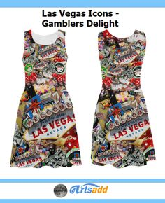 Las Vegas Icons - Gamblers Delight Atalanta Sundress (Model D04) #Artsadd #Gravityx9 #LasVegasIcons -  LAS VEGAS! Popular sights in Las Vegas, including the Las Vegas Welcome Sign, Poker chips, dice , slot machines, Fremont Street signs from Glitter Gulch and more.