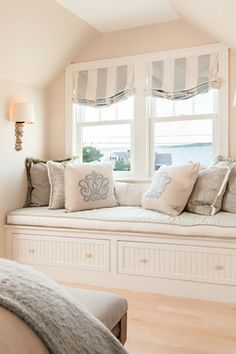 Pretty relaxed roman shade in window seat. Coastal Interior window seat in the bedroom. What I like about window seats is that they are appealing, are an added feature to any room, a nook and also storage. The window seat wears many hats! Interior Windows, Bedroom Windows, Bay Windows, Bedroom Blinds, Master Bedroom, Blinds Curtains, Window Blinds, Privacy Blinds, Blinds Diy