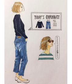 . 今日服✍️ (着てる人は妄想女子です) 古着のデニムをカット✂︎して短めにしたらいい感じになりました( ´͈ ω `͈ ) . いいね、コメント、ありがとうございます♀️ . #ファッションイラスト#イラストレーション#スケッチ#アナログ#コピック#ootd#今日の服#大人カジュアル#シンプルコーデ#アラフィフコーデ#アラフィフ#デニム#lee#バレエシューズ#アンゴラ#ボブ#メガネ#サングラス#drawing#fashionillustration#todayscode