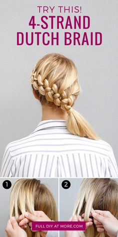 If you& a braid master, add this style to your repertoire. If youre a braid master, add this style to your repertoire. Braided Hairstyles, Cool Hairstyles, Hairdos, Hairstyle Ideas, Hair Ideas, Four Strand Braids, Natural Hair Styles, Short Hair Styles, Best Hair Care Products