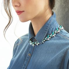 Keep it buttoned-up! Layer a rhinestone necklace over your shirt for a sparkly statement without the brrrrrr. #StylistTip