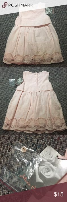 Soft Pink lace dress Adorable cotton dress with diaper cover and lace trim. New with tags. Excellent condition. jillians closet Dresses Casual