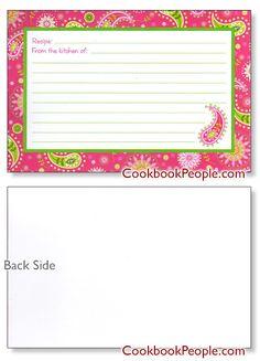 Pretty 4x6 Pink Recipe Card