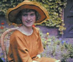 Miss Ethel Crossland, 1924.  Half of a stereoscopic autochrome by S. Pegler