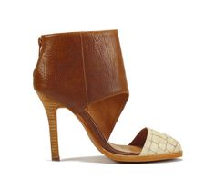 Jeffrey Campbell Bardot Ivory Croco Brown Ankle Boot