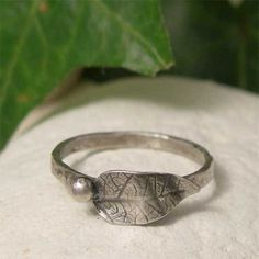 Oxidised Silver Leaf & Berry Stacking Ring, Organic Sterling Silver Nature Ring, Rustic Botanical Jewelry, 2mm Thin Band Ring, Skinny Ring by lukelys on Etsy https://www.etsy.com/uk/listing/227328286/oxidised-silver-leaf-berry-stacking-ring