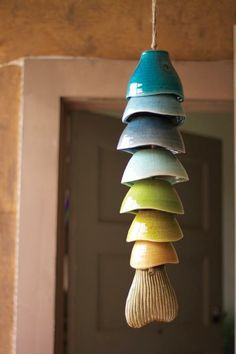 multi-colored ceramic fish chime