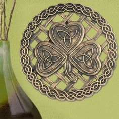 "Celtic Shamrock Stepping Stone  ""Whether hung on the wall or put into a garden this solid metal-like resin design is expressively Irish. Imported. 12"""