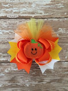 Halloween hair bow, Pumpkin Hair Bow, Fall Hair Bow on Etsy, $8.99