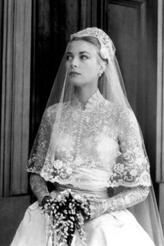 Grace's wedding dress has become one of the most celebrated gowns in history. Designed by MGM costume designer Helen Rose, the gown transformed the Hitchcock blonde into real-life European royalty. The gown was made from 25 yards of silk taffeta, pearls and antique rose-point lace by three-dozen seamstresses, who worked on it for six weeks. The bride carried a pearl-encrusted prayer book with her down the isle. The dress is said to have inspired the Duchess of Cambridge's wedding gown.