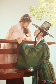 "한복 Hanbok : Korean traditional clothes[dress] ""park bogum and kim yoojung in moonlight drawn by clouds ✧ behind the scenes of the poster photoshoot""1000 x 1500"" """