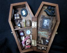 Heads Will Roll Miniature Coffin Shadow Box by AhtheMacabre