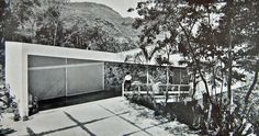 Portinho Residence, Affonso Reidy 1950 - View of Garage and Maid's room with connecting ramp to main building