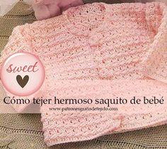 Chaqueta de bebé de 0 a 3 meses tejida con ganchillo