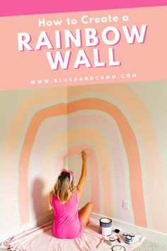 I knew I wanted a boho inspired rainbow wall in my nursery, but I also knew I didn't want to pay for the decals, so I created this myself! And you can too by following my step by step guide! This could work in a girl's or boy's nursery or even a little kid's room! What a great DIY project! #nurserywalldecor #bohoinspired  #littlegirlnursery #littleboynursery