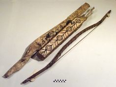 Yupik (Eskimo) attributed bow and arrows