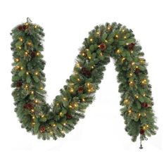 Christmas Holiday 9' Long Pre-Lit Garland Indoor Outdoor 90 LED White Lights New #KS