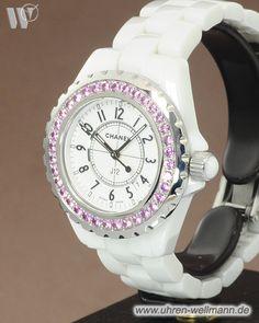 Chanel J 12, Damenuhr, Keramikgehäuse, Keramikarmband mit Faltschließe, verschraubte Krone, Lünette mit 36 rosa Saphiren besetzt