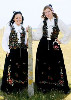 Rogalandsbunad, Tjelmeland pattern. The embroidery is based on a pattern found from Vandvik (Suldal).