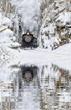 Serenity Motor A Vapor, Winter Szenen, Train Art, Old Trains, Vintage Trains, Train Pictures, Snow Scenes, Winter Pictures, Train Tracks