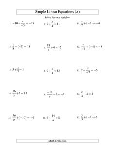 Solving Linear Equations (Incuding Negative Values) -- Mixture of Forms x/a ±; b = c and a/x ±; b = c (A)